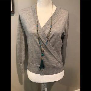 J Crew Gray Long Sleeve V wrap sweater. NWT. Sz. S